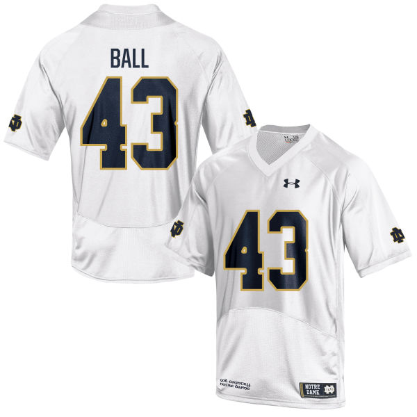 Men's Under Armour Brian Ball Notre Dame Fighting Irish Game White Football Jersey