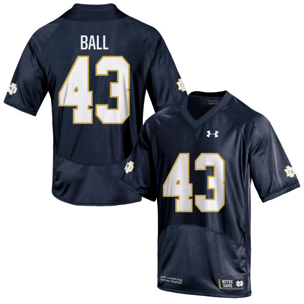 Youth Under Armour Brian Ball Notre Dame Fighting Irish Authentic Navy Blue Football Jersey