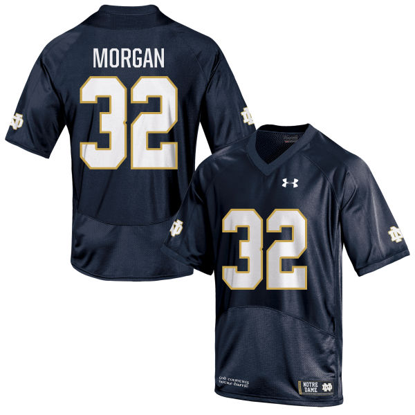 Men's Under Armour D.J. Morgan Notre Dame Fighting Irish Game Navy Blue Football Jersey