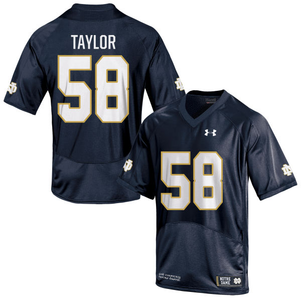 Men's Under Armour Elijah Taylor Notre Dame Fighting Irish Game Navy Blue Football Jersey