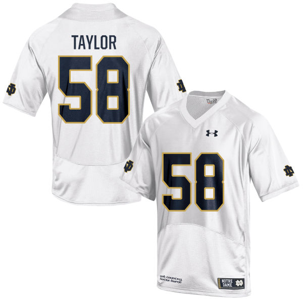 Men's Under Armour Elijah Taylor Notre Dame Fighting Irish Game White Football Jersey