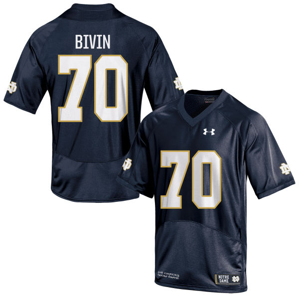 Men's Under Armour Hunter Bivin Notre Dame Fighting Irish Game Navy Blue Football Jersey