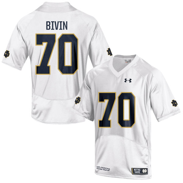 Youth Under Armour Hunter Bivin Notre Dame Fighting Irish Game White Football Jersey