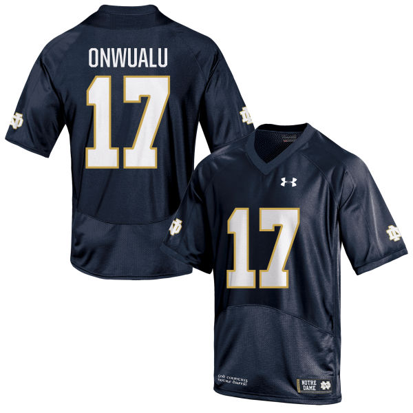 Men's Under Armour James Onwualu Notre Dame Fighting Irish Replica Navy Blue Football Jersey