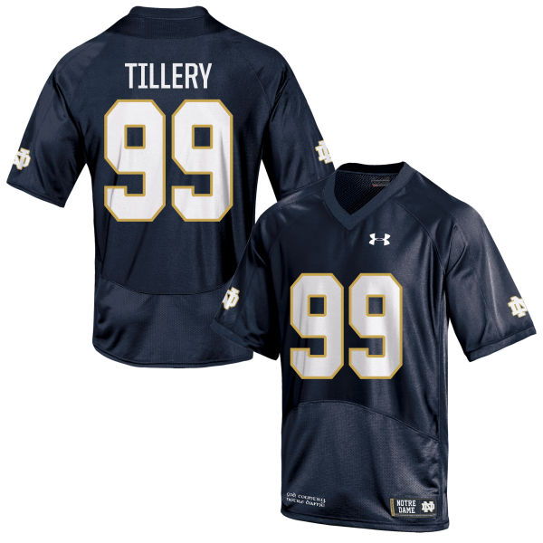 Men's Under Armour Jerry Tillery Notre Dame Fighting Irish Game Navy Blue Football Jersey