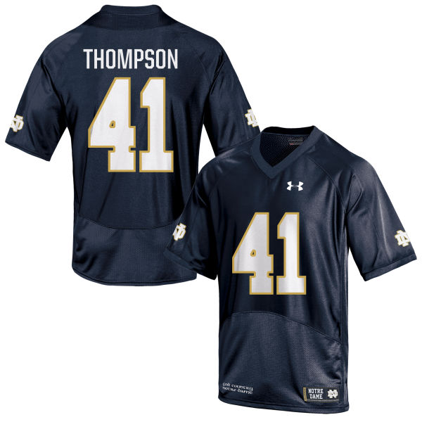 Men's Under Armour Jimmy Thompson Notre Dame Fighting Irish Game Navy Blue Football Jersey