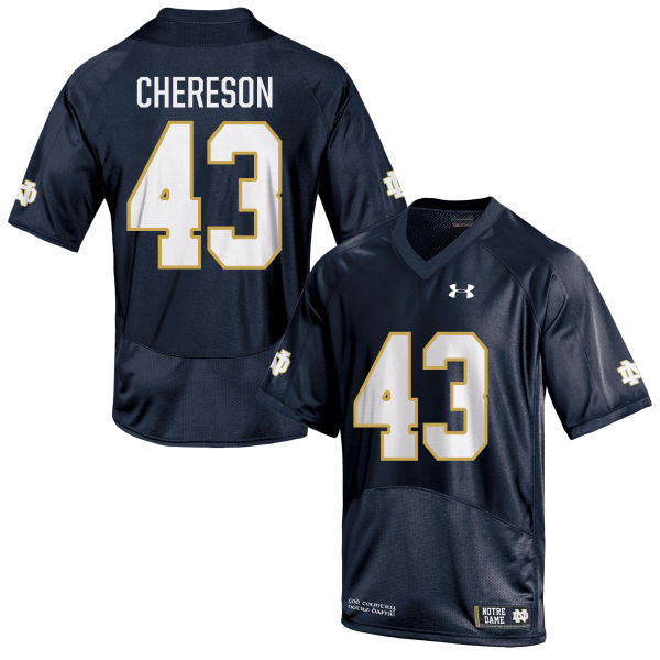 Youth Under Armour John Chereson Notre Dame Fighting Irish Game Navy Blue Football Jersey