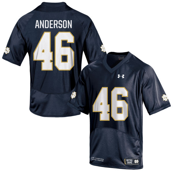 Men's Under Armour Josh Anderson Notre Dame Fighting Irish Game Navy Blue Football Jersey