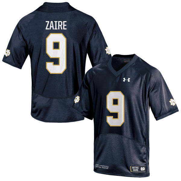 Men's Under Armour Malik Zaire Notre Dame Fighting Irish Game Navy Blue Football Jersey