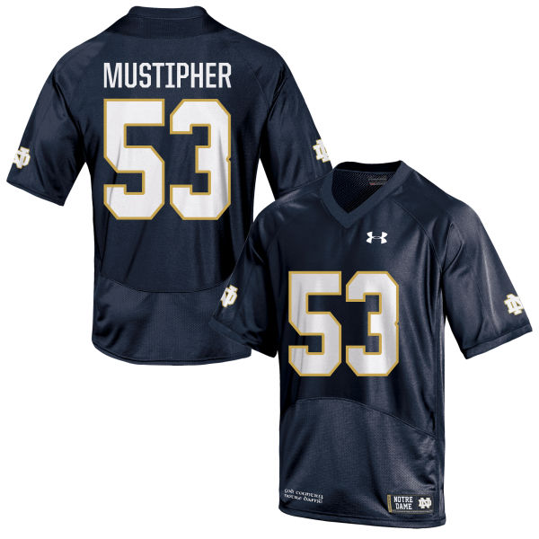 Youth Under Armour Sam Mustipher Notre Dame Fighting Irish Game Navy Blue Football Jersey
