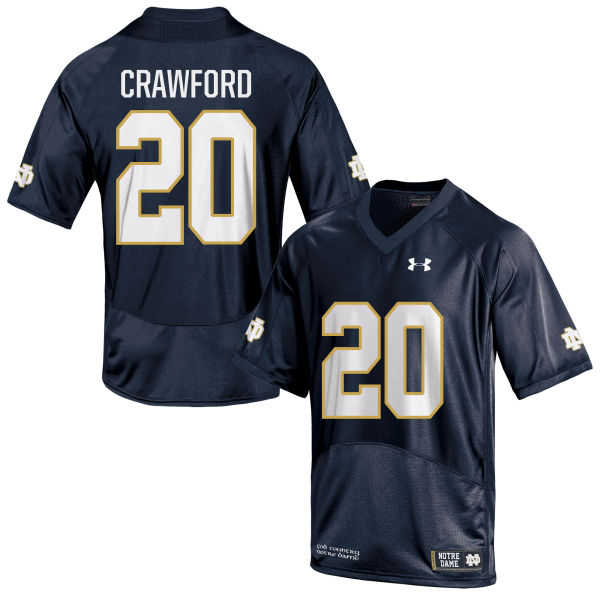 Youth Under Armour Shaun Crawford Notre Dame Fighting Irish Game Navy Blue Football Jersey