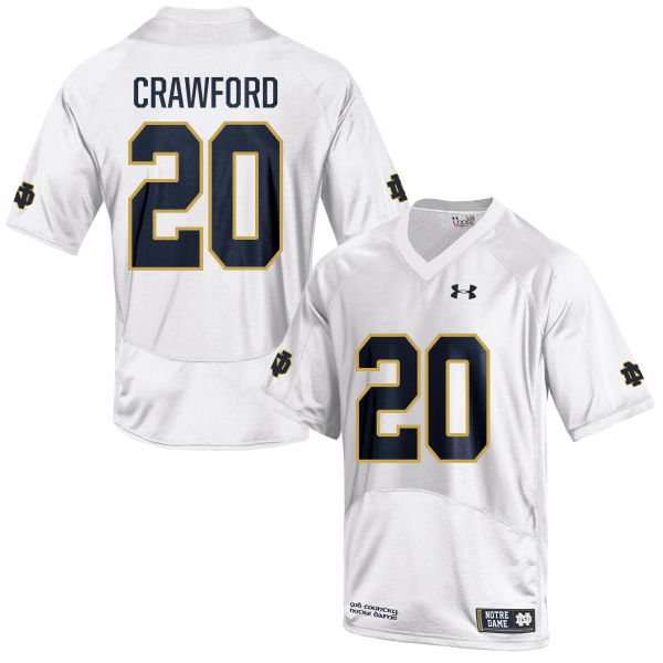 Youth Under Armour Shaun Crawford Notre Dame Fighting Irish Game White Football Jersey