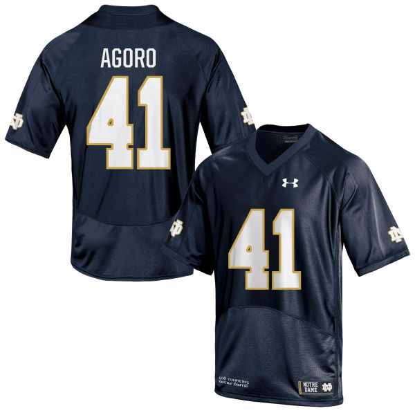Youth Under Armour Temitop Agoro Notre Dame Fighting Irish Game Navy Blue Football Jersey