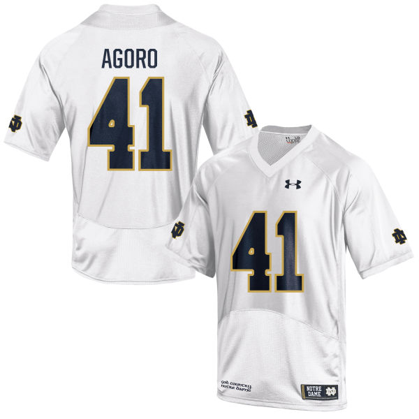 Women's Under Armour Temitop Agoro Notre Dame Fighting Irish Game White Football Jersey