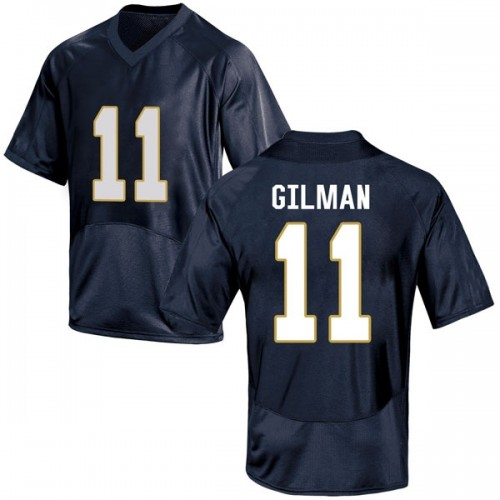 Men's Under Armour Alohi Gilman Notre Dame Fighting Irish Game Navy Blue Football College Jersey