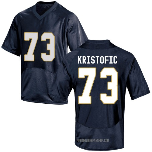 Men's Under Armour Andrew Kristofic Notre Dame Fighting Irish Game Navy Blue Football College Jersey