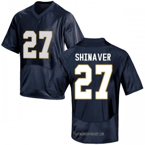 Men's Under Armour Arion Shinaver Notre Dame Fighting Irish Game Navy Blue Football College Jersey