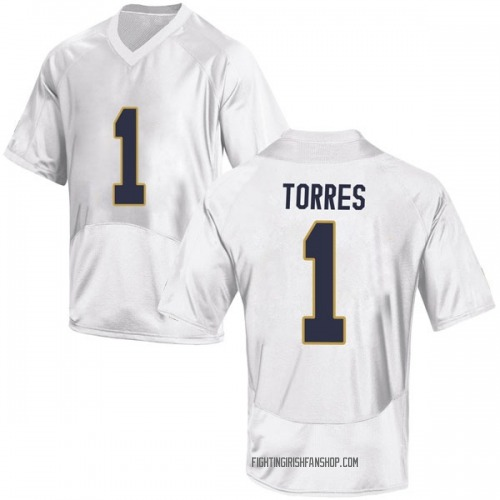 Men's Under Armour Austin Torres Notre Dame Fighting Irish Game White Football College Jersey