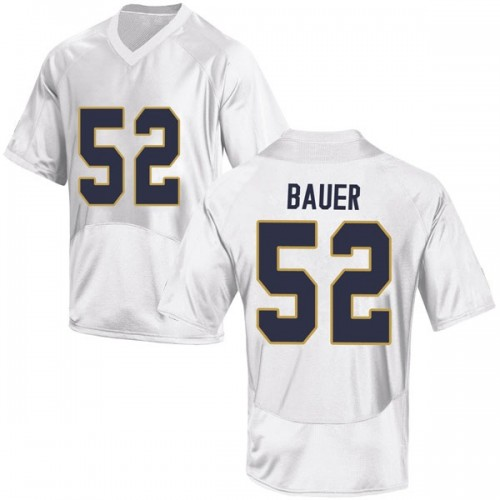 Men's Under Armour Bo Bauer Notre Dame Fighting Irish Game White Football College Jersey