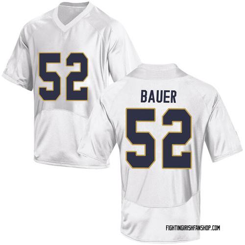 Men's Under Armour Bo Bauer Notre Dame Fighting Irish Game White Football College Jersey