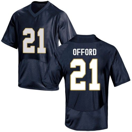 Men's Under Armour Caleb Offord Notre Dame Fighting Irish Game Navy Blue Football College Jersey