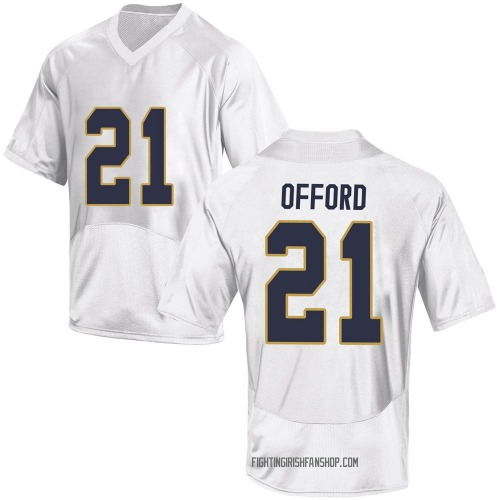 Men's Under Armour Caleb Offord Notre Dame Fighting Irish Game White Football College Jersey