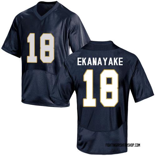 Men's Under Armour Cameron Ekanayake Notre Dame Fighting Irish Game Navy Blue Football College Jersey