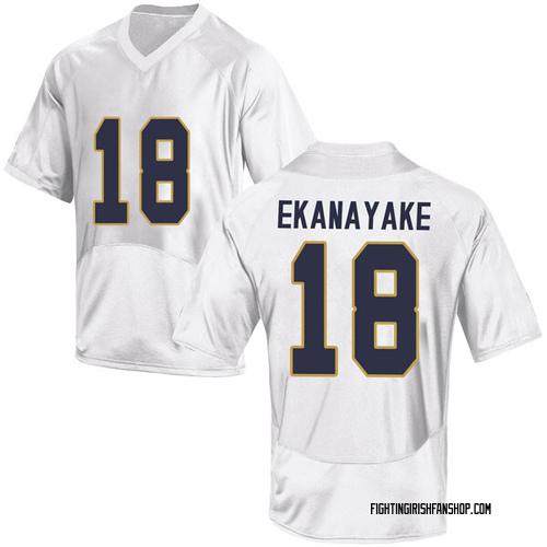 Men's Under Armour Cameron Ekanayake Notre Dame Fighting Irish Game White Football College Jersey
