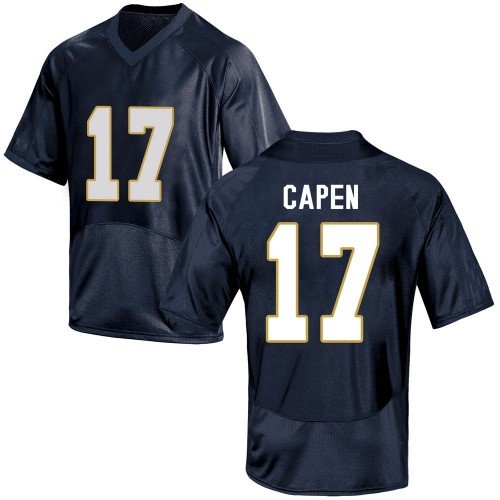 Men's Under Armour Cole Capen Notre Dame Fighting Irish Game Navy Blue Football College Jersey
