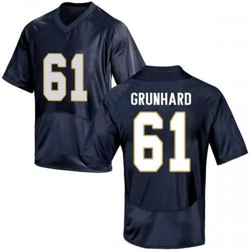 Men's Under Armour Colin Grunhard Notre Dame Fighting Irish Game Navy Blue Football College Jersey