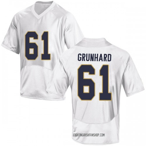 Men's Under Armour Colin Grunhard Notre Dame Fighting Irish Game White Football College Jersey
