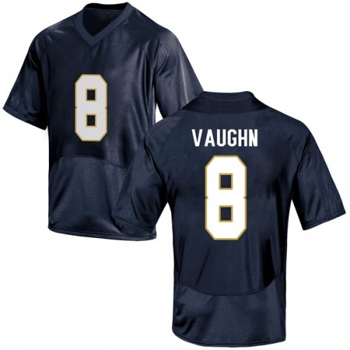 Men's Under Armour Donte Vaughn Notre Dame Fighting Irish Game Navy Blue Football College Jersey