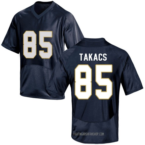 Men's Under Armour George Takacs Notre Dame Fighting Irish Game Navy Blue Football College Jersey