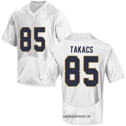 Men's Under Armour George Takacs Notre Dame Fighting Irish Game White Football College Jersey