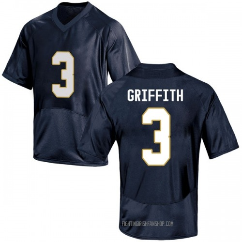 Men's Under Armour Houston Griffith Notre Dame Fighting Irish Replica Navy Blue Football College Jersey