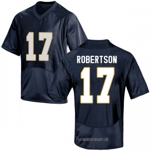 Men's Under Armour Isaiah Robertson Notre Dame Fighting Irish Game Navy Blue Football College Jersey