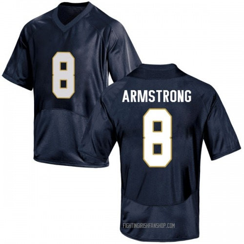Men's Under Armour Jafar Armstrong Notre Dame Fighting Irish Game Navy Blue Football College Jersey