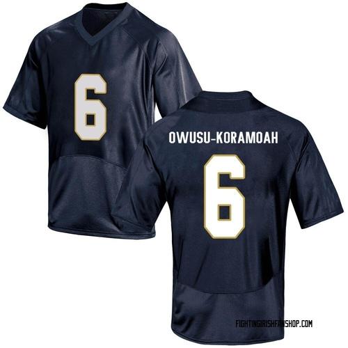 Men's Under Armour Jeremiah Owusu-Koramoah Notre Dame Fighting Irish Game Navy Blue Football College Jersey