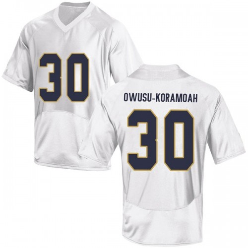 Men's Under Armour Jeremiah Owusu-Koramoah Notre Dame Fighting Irish Replica White Football College Jersey