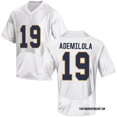 Men's Under Armour Justin Ademilola Notre Dame Fighting Irish Game White Football College Jersey