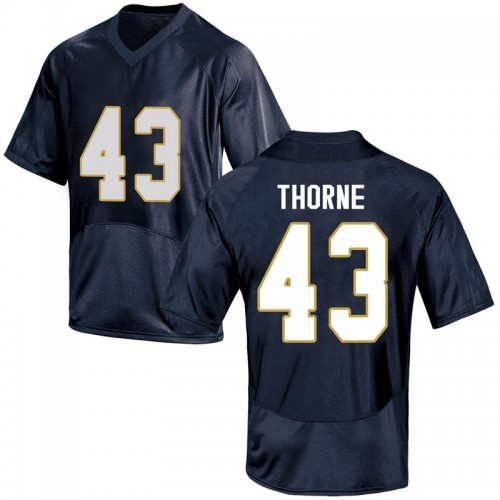 Men's Under Armour Marcus Thorne Notre Dame Fighting Irish Game Navy Blue Football College Jersey