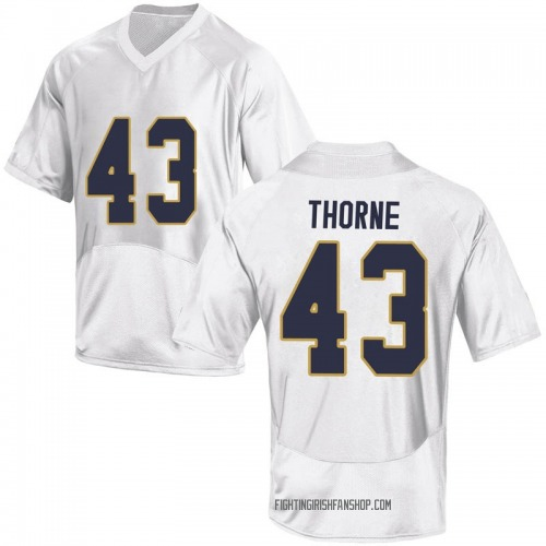 Men's Under Armour Marcus Thorne Notre Dame Fighting Irish Game White Football College Jersey