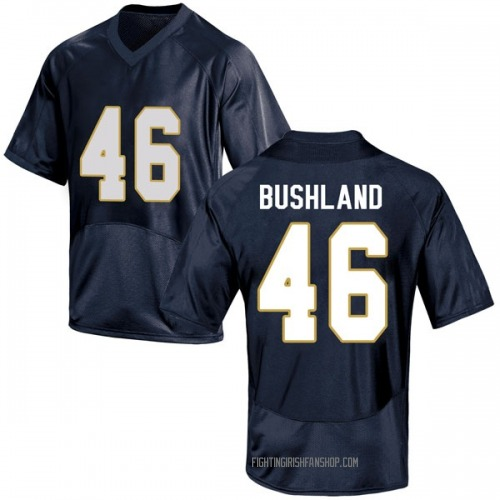 Men's Under Armour Matt Bushland Notre Dame Fighting Irish Game Navy Blue Football College Jersey