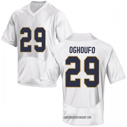 Men's Under Armour Ovie Oghoufo Notre Dame Fighting Irish Game White Football College Jersey