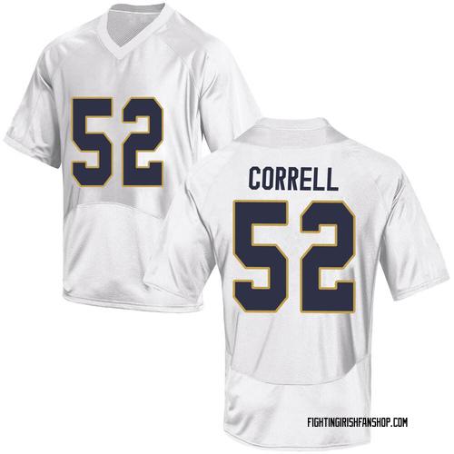 Men's Under Armour Zeke Correll Notre Dame Fighting Irish Game White Football College Jersey