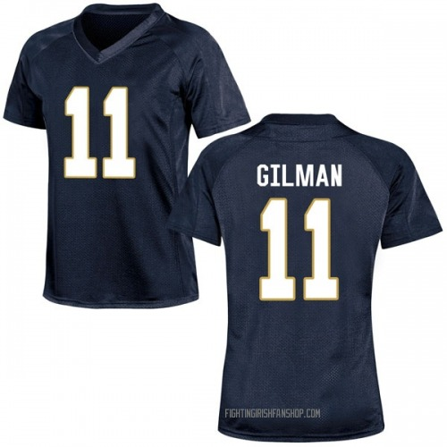 Women's Under Armour Alohi Gilman Notre Dame Fighting Irish Game Navy Blue Football College Jersey