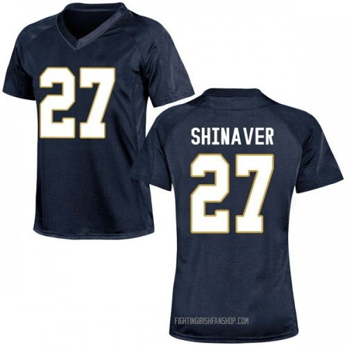 Women's Under Armour Arion Shinaver Notre Dame Fighting Irish Game Navy Blue Football College Jersey