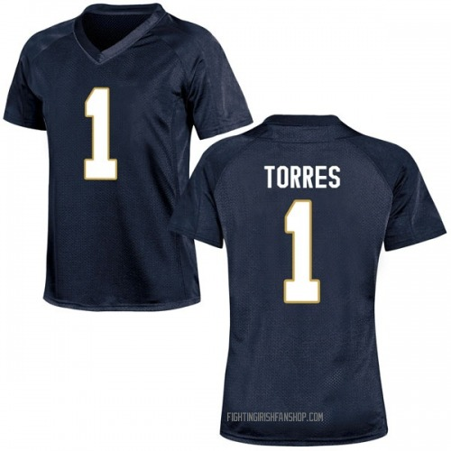 Women's Under Armour Austin Torres Notre Dame Fighting Irish Game Navy Blue Football College Jersey