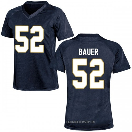 Women's Under Armour Bo Bauer Notre Dame Fighting Irish Game Navy Blue Football College Jersey