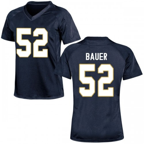 Women's Under Armour Bo Bauer Notre Dame Fighting Irish Replica Navy Blue Football College Jersey